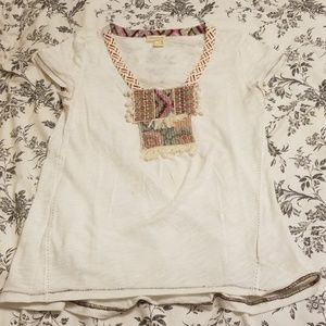 Anthropologie White Patterned Shirt